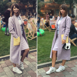 Nataly Bagart - Bagart Minibrutbag, Booriva Cardigan, Janet Sport Sneakers, Booriva Skirt - Day with coffe