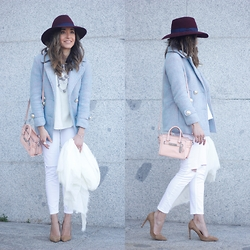 Besugarandspice FV - Zara Jeans, Coach Bag, Choies Coat, Globe Hat - Blue Coat With White Outfit