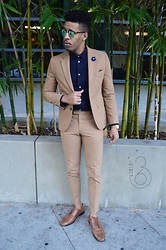 Darius Shipp - H&M Khaki Suit, Rockport Brown Leather, Shipp & 36th Lapel Flower - Blue Camel