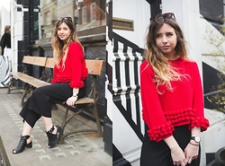 Monica Barleycorn - The White Pepper Sweater, Oasis Culottes, Topshop Shoes - London Fashion Week Day 1