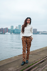 Prishella Ramawadhdoebe - New Look Knitted Sweater, H&M Leopard Trousers, Forever 21 Oxfords - Urban jungle