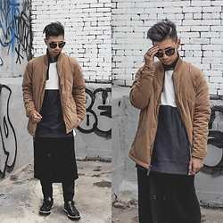 Tommy Lei - Prada Sunglasses, Superism Suede Bomber Jacket, Pyer Moss Sweater, Chapter Long Cardigan, Tod's Sneakers - SUEDE BOMBER