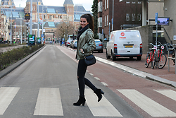 Stephanie Abu-Sbeih - Topshop Green Bomber - Walking down the streets