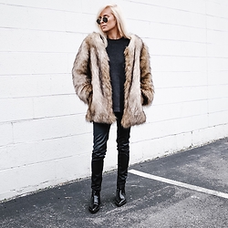 Dannon K Collard - Chic Wish Faux Fur Brown Coat, H&M Imitation Leather Pants, Zara Ankle Boots - Faux Furs + Leathers