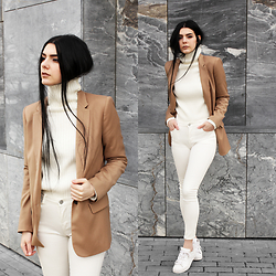 CLAUDIA Holynights - Sheinside Turtleneck Ribbed Sweater, Sheinside White Jeans - White and Camel