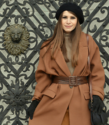 Simona C - H&M Wool Coat, Zara Leather Skirt, Stefanel Wool Sweater, Vintage 80s Leather Belt, Suede Gloves, Papillon Leather Bag, Stradivarius Wool Beret - Wool, Browns, Winter
