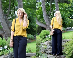Vivien S. - H&M Blouse, H&M Palazzo Trousers, Heels, Fossil Bag - Mustard Yellow