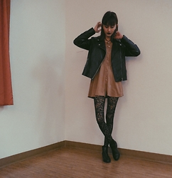 Neddy Ley - Forever 21 Black Leather Jacket, Brown Dress, Charlotte Russe Black Ankle Booties, Lace Tights - Night life