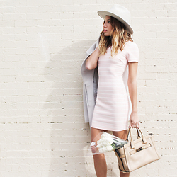 Lauren G. - Likely Striped Mini Dress, Lack Of Color Mack Hat, Coach Swagger Satchel, Reiss Coat - Spring Fling