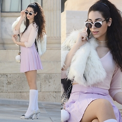 Marina Mavromati - Cndirect Sunglasses, Free People Faux Fur Cape, Dressin Skirt, Cndirect Bag Charm, Sisley Blouse - Scream Queens!!!
