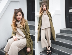 Monica Barleycorn - Oasis Knit, Oasis Culottes, Misguided Faux Suede Trench Coat - LFW Day 3
