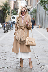 Meagan Brandon -  - Milan Fashion Week: Camel Coat/Culottes