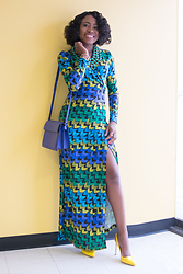 Louisa Moje - Blue Green Maxi Wrap Dress, Shoedazzle Yellow Slingback Sandals, Amrita Singh Reversible Bib Necklace - Blue Green Maxi Wrap Dress