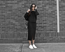 Kristina - The Row Sunnies, Stylewe 2pc Knit Dress Set, Adidas Stan Smith, Eleven Bucket Bag - Double knit set
