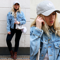 Lilia - Adidas Baseball Cap, Brandy Melville Usa Denim Jacket, Zara Bag, Monki Jeans, River Island Leopard Boots - COOL GIRL