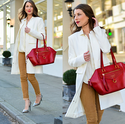 Stephanie Van Klev - Oui Coat, The Bridge Red Bag, Hallhhuber Suede Pants, Mason's Silk Blouse, Buffalo Pumps - Snow-White & Rose-Red