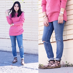Marifer Rocha - Zara Shoes, Zara Jeans, H&M Sweater - Pink+leopard
