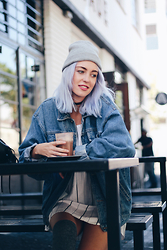 Tara-Lee McNulty - Topshop Beanie, Guess Denim Jacket, Dress, H&M High Socks - Arcade