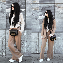CLAUDIA Holynights - Sheinside Loose Sweater, Zara Camel Suit - Camel Suit