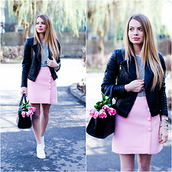 Julie P - Romwe Skirt, Sheinside Pu Leather Jacket - Pink and Stan Smith