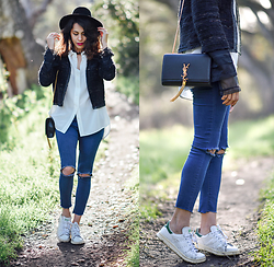 Francesca Felix - Forever 21 Ripped Jeans, Chanel Tweed Jacket, Adidas White Tennis - Mixing it up
