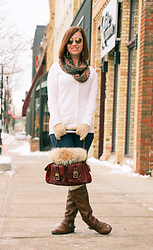 Lindsey Puls - Coach Fur Purse, Quay Sunglasses - Staying Warm