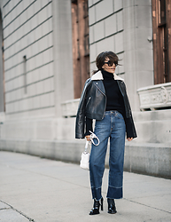 Diana Z Wang - Yohji Yamamoto Ribbed Turtleneck, Alexander Wang Leather Jacket, Nasty Gal Jeans, Alexander Mcqueen Booties, Proenza Schouler Bag - Essential Everything