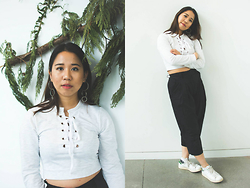 Marissa Hooi - Dresslink Top, Urban Outfitters Trousers, Adidas Sneakers, H&M Earrings - Knot the Same