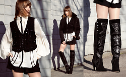 EWELYN D. - Isabel Marant Boots, Zara Blouse, Topshop Vest, Zara Coat - Isabel Marant over the knee boots