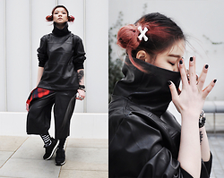 Sharley L. - Ktz Pleather Polo Neck, Zara Pleather Culottes, Zara Sneakers, Attitude Clothing Crossbones - Parachute