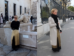 Anna Borisovna - H&M Sweater, Zara Dress, Massimo Dutti Belt, Massimo Dutti Trousers, Zara Coat - Gold Spring