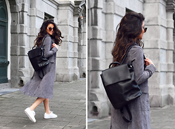 Stephanie Abu-Sbeih - Urban Outfitters Suede Coat, Urban Outfitters Backpack, Adidas Superstars - A black backpack