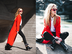 Anna Pogribnyak - Romwe Duster Coat, Choies Jeans, Light In The Box Boots, Choies Shirt, Kookizare Necklace, Marc Bale Watch, Thepeachbox Bracelet - Flare jeans and red duster coat