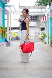 Coke Young-Go - Longchamp Tote, Forever 21 Tank Top, Nautica Wrist Watch - Red White & Blue