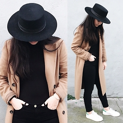 Tiffany Wang - Janessaleone Hat, Mango Camel Coat, Frame Jeans, Adidas Sneakers - INCOGNITO