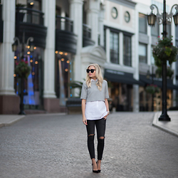 Kylee Snelgrove - Old Navy Jeans, Christian Louboutin Heel, Zara Top, Karen Walker Super Duper Sunglasses - Simple.