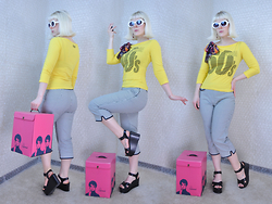 Suzi West - Mypartyshirt.Com Kurt Cobain Sunglasses, Rocket Studio Art Abstract Earrings, Dolce & Gabbana Swinging 60s Top, Talbot's Carpis, Charles David Platform Sandal, Carousel Vintage Wig Box - 09 March 2016
