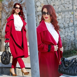 Redhead Illusion by Menia - Paul & Joe Sunglasses, Access White Shirt, Access Red Coat, Access Red Pants, Miu Bag, Nine West Animal Print Pumps - What else? Red of course!