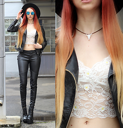 Liza LaBoheme - Faux Leather Jacket, Similar Here:, Daisy Lace Bralet, Faux Leather Pants, Similar Here:, 3d Printed Bison Skull Choker, Platforms, Similar Here: - Your name rhymes with pain