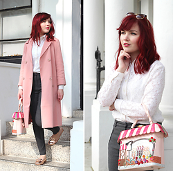 Paige Joanna Calvert - Vintage Lace Blouse, Vendula London Bag, Asos Pink Duster Coat, Asos Rose Gold Shoes - Spring in London
