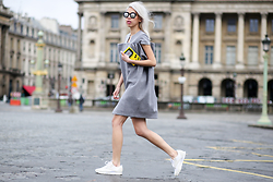 Candy Rosie - Laila Soares Dress, Urania Gazelli Clutch, Spektre Sunglasses, Reebok Sneakers - STREET OF PARIS