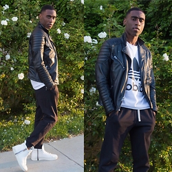Willie Sparks - H&M Leather Jacket, Adidas Mesh Shirt, H&M Joggers, Diesel Sneakers - Black N White