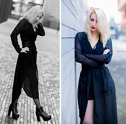 Saskia B. - Cn Direct Long Shirt, Bra, H&M Skirt, Jeffrey Campbell Shoes Everest, Pimkie Belt - Total Black.