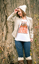 Lindsey Puls - Junkfood Ewok Shirt, Downtown Coalition Faux Leather Jacket - Save the Trees!