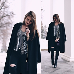 Sasha Shcherbakova - Sheinside Coat, Sheinside Jacket - Sequins