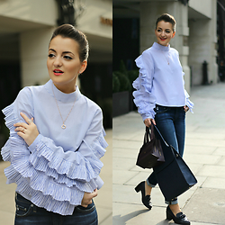 Andreea P - Storets Blouse, Ag Jeans, Paul's Boutique London Ltd. Handbag, Dune London Shoes - The ruffled blouse