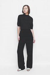 Hillary B - Max Mara Vintage Pants, Vintage Silk Top, Vintage Sandals - Your ego is black