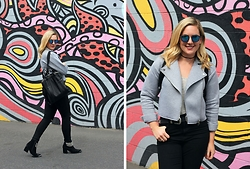 Elyse Cornett - Forever 21 Grey Jacket, Bdg High Waisted Black Jeans, Asos Double Buckle Belt, Forever 21 Chocker Necklace, Firmoo Sunglasses, Jeffrey Campbell Shoes Chain Boots, Urban Outfitters Black Backpack - Western Details + Firmoo Giveaway!