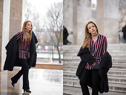 Silver Girl - Massimo Dutti Ankle Boots, Urban Outfitters Flared Jeans, Zara Faux Fur Coat, Kenzo Kalifornia Handbag, Urban Outfitters Velvet Choker, Asos Striped Shirt - PFW LOOK #1