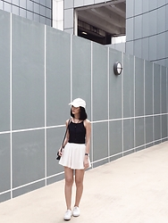 Brenda N. - Nike White Cap, Forever 21 Bolo Necklace, So Frocking Good Hannah Crop Top, Paul Hewitt Black Leather Watch, Dorothy Perkins Black Bag, Topshop White Sneakers - Grid in Line